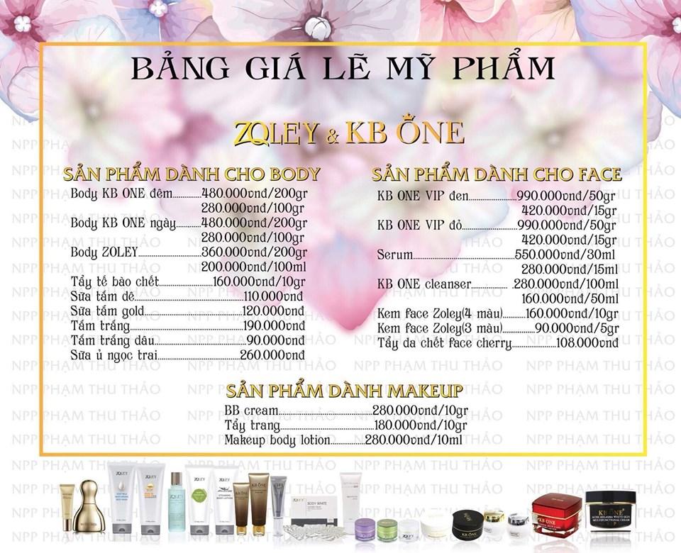 Bảng giá bán lẻ mỹ phẩm Zoley & Kb One